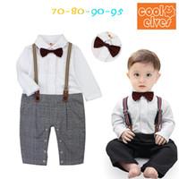 Wholesale Baby Romper Children Clothes Boy Long Sleeve Bowknot Gentleman Tuxedo Bodysuits