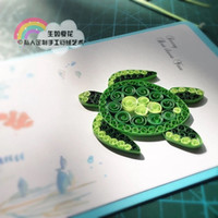 Wholesale 2016 High grade good texture can be customized Love creative festive pure handmade green Tortoise Paper Rolling greeting card