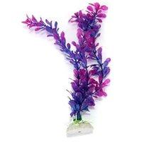 Декор аквариума Цены-Искусственный Пластик Водный Растение, раскачивающийся Фиолетовая Трава для Рыбы Аквариум Украшения Украшения Украшение Ландшафт Декор