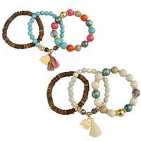 Idéalway Charming Multicouches 3Pcs / set Bohème Mode Vintage Style Turquoise en bois Force à la main perlé Bracelet Set