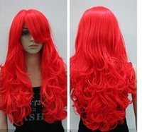 Wigs Accessories ariel bow - 70cm inch Wave Fashion Cosplay Synthetic Hair Long Red Little Mermaid Ariel Cosplay Wig Ariel Good Quality peruca Cosplay Wigs