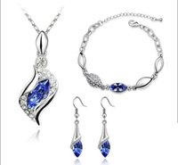 Wholesale Top Quality Elegant luxury design new fashion Rose Gold plated colorful Austrian crystal drop jewelry sets women gift