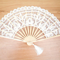 Wholesale White Lace Folding Fan Handmade Cotton Lace Embroidered with Bamboo Frame Women Hand Held Fans for Cosplay Wedding Props