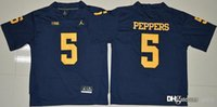 Wholesale 5 Jabrill Peppers College Football Jerseys Michigan Wolverines Mens New Blue Football Jerseys Stitched Free Drop Shipping gally