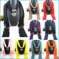 Wholesale Elegant Women Lady Jewellery Heart Alloy Hearts Necklace Pendant Scarf Lady Tassel Warm Scarves Shawls