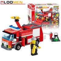 Wholesale J310 Fire Fight Truck set Building Blocks Kits DIY Enlighten Child Educational Construction Bricks Toys Kids Gift