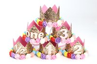 saveur de gâteaux achat en gros de-Giltter Baby Birthday Couronnes Headbands faits à la main Premier anniversaire arcs Bande élastique Party Flavour Newborn Photography Props hairbows Smash Cake