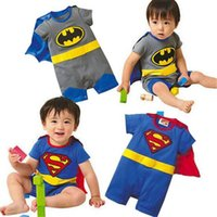 Wholesale 2017 Summer Baby Superman Batman Rompers Halloween Costumes Suit Kids Jumpsuit Long Sleeve Smock Infant Romper Girl Boy Clothing Sets ROB55