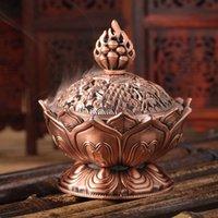 bamboo height - cm Height Tibetan Lotus Incense Burner Alloy Bronze Mini Incense Burner Metal Craft Home Decor Colors