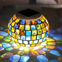 Wholesale Solar Power Mosaic Glass Ball Garden Stake Color Changing Outdoor Lawn LED Light