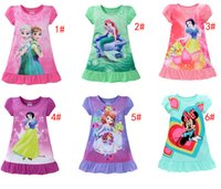 Wholesale 2017 summer girls dresses Elsa Anna Mermaid Sofia Snow White Minnie kids pajamas polyester nightgowns sleepwear clothes T
