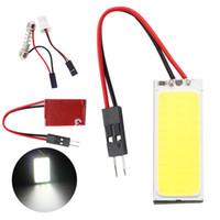 Wholesale 50 x W T10 Festoon COB Chip LED Dome Lamp White Light Panel Interior Adapter NEW Car Led Panels Bulb