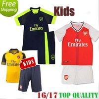 achat en gros de xs catsuit jaune-2016 2017 enfants Arsenals Soccer Jerseys Away Yellow OZIL Kit de football WILSHERE RAMSEY ALEXIS GIROUD Welbeck Chemises complètes