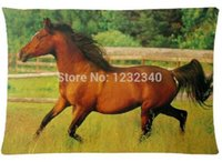 arabian horses - 2pcs Custom Running Arabian Mare Horse Pattern Zippered Cotton Polyester Pillow Case x30 Twin sides