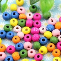 Wholesale 1000pcs Colorful Lead free Round Wood Beads for Bracelet Necklace x8mm Hole mm