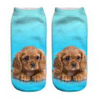 Оптово Горячие продажи 1 пара Blue 3D щенок собаки Печать Носок хлопок полиэстер Повседневный Носок мужской низкий лодыжки Носок 19см * 8см для подарка Кристмас