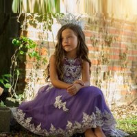 Wholesale Sparkly Junior Bridesmaid Dress For Party Weddings Ankle Length Beads Applique Custom Made Kids Tulle Gown Toddler Girls Pageant Dresses