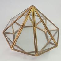 Wholesale Raw Brass Solder Metal Trim Glass Panels Geometric Diamond Terrarium Quartz Faceted Planter Wonderland Miniature Garden Deco