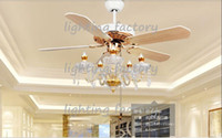 Wholesale Crystal ceiling chandelier lamp fan restaurant Fan lamp crystal chandelier Fan lights continental simple American inch