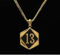 Lucky Number 13 Pendentif Noir Vintage Gold Color Hommes Golden Motor Biker Pendentif Collier Fashion Men Hip hop Punk Jewelry