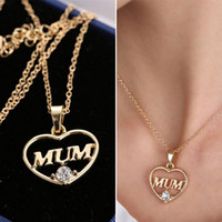 Wholesale Mother s Day Gift Love MUM Heart Pendant K Real Gold Plated Rhinestone Necklaces Pendants Jewelry For Women