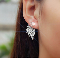 Wholesale Retro Stereo Angel Wings stud Earrings Feathers crystal Diamond Duct stud Earrings