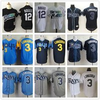 Baseball bay free - High Quality Tampa Bay Rays Baseball Jerseys Evan Longoria Gray Wade Boggs Throwback Blue White Blank Jersey