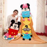 baby minnie mouse plush - Baby Mickey Minions Blanket Minnie Mouse Swaddling Cartoon Air Condition Blankets Plush Minion Pillow Cushion Fashion Plush Toy Gift OOA1091