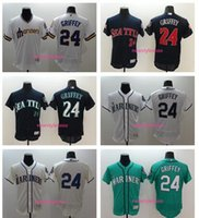 Wholesale 24 Ken Griffey Jr Seattle Mariners Jersey Cream Green Gray White Blue Premier Stitched Men Ken Griffey Throwback Baseball Jersey
