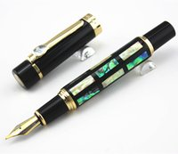Cheap Wholesale-With Real Sea Shell Luxury Fountain Pen Jinhao 650 Black 18kgp Medium Nib Great Wall