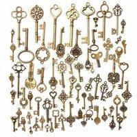 Wholesale Random sets Antique Vintage Old Look Bronze Skeleton Keys present gift Fancy Heart Bow for party supplies decor