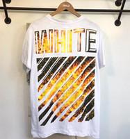 Wholesale 2017 clothing off Men s T Shirts white flame hip hop clothing Cartoon patch mens designer shirts plus size black white