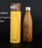 Wholesale Round Barrel Packing for ML Wood Grain Swell Bottle Stainless Steel Cola mugs package vacuum cup OOA742