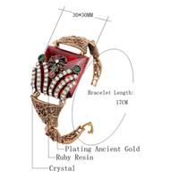 ancient flower bracelets - New retro Ruby bracelet female jewelry plating ancient gold colours resin Turkey bracelet bangle Turkey Christmas gifts