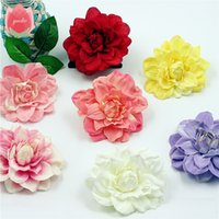 Wholesale 20pcs Large Silk Dahlia Handmake Artificial Flower Head Wedding Decoration DIY Wreath Gift Box Scrapbooking Craft Fake Flower