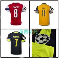 Wholesale Top quality Champions League Gunners Uniform Home OZIL WILSHERE RAMSEY ALEXIS GIROUD Welbeck Third Arsenals Jerseys With Free shippi