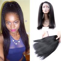 al por mayor bandas para el cabello-9A Light Yaki cabello de la Virgen brasileña con 360 frente de encaje Frontal Pre pliegue cierre de banda completa de encaje frontal con Yaki italiano cabello humano recto