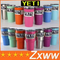 beer mugs sports - YETI Bilayer Stainless Steel Insulation Cup OZ OZ OZ Cups Travel Vehicl Beer Rambler Tumblers Clear lids Sports Mugs