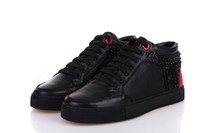 Livraison internationale Pas Cher-Fine Authentic Quality Unisex Plus Size 37-47 Royaums Black Red Button Rivets Chaussures Livraison mondiale