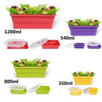 Wholesale foldable silicone lunch box picnic bucket or crisper food storage container ml ml ml ml h127