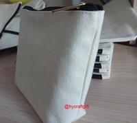 Wholesale NEW Girls cotton canvas cosmetic Bags DIY women blank plain zipper handle makeup bag phone clutch bag Gift organizer cases pencil pouches