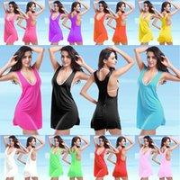 Wholesale New Sexy Solid Cover ups Swimwear Fashion Short Sleeveless Summer Beach Dress for Women Mini Dress