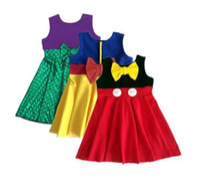 Wholesale Girl Summer mermaid Dress Children Cartoon style Cinderella Minnie fish scale bowknot sleeveless vest princess dresses