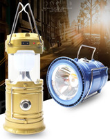 Wholesale 6 LED Hand Lamp Portable Led Light Solar Collapsible Camping Lantern Tent Lights Rechargeable Emergency For Outdoor Lighting