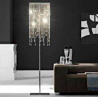 Wholesale High quality oblong rectangular glass square crystal floor lamp LED bulb optional square crystal floor light