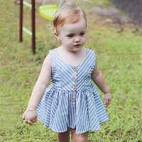Stripe ceinture bleu Summer Baby Girls Robes Toddler Girls Striped manches en coton Robe belle cadeau Baby Daily vêtements 2101096