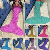Wholesale 180 cm Adult Mermaid Tail Fish Blankets Women Sleeping Bag Bedding Warm Soft Handmade Knitted Sofa Blanket colors