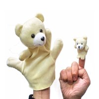 Wholesale set Large Small Size Bear Glove Puppet Hand Plush Dolls Baby Toy Animals Plush Toy for Kids Parent child Early Childhood