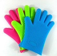 Wholesale Silicone Kitchen Cooking Gloves Microwave Oven Non slip Mitt Heat Resistant Silicone Home Gloves Cooking Baking BBQ gloves Holder EQ