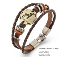 aquarius man - Fashion Constellation Bangles Scorpio libra aries virgo Sagittarius Capricorn Aquarius Pisces Gemini Leo Taurus Leather Bracelet Men Jewelry
